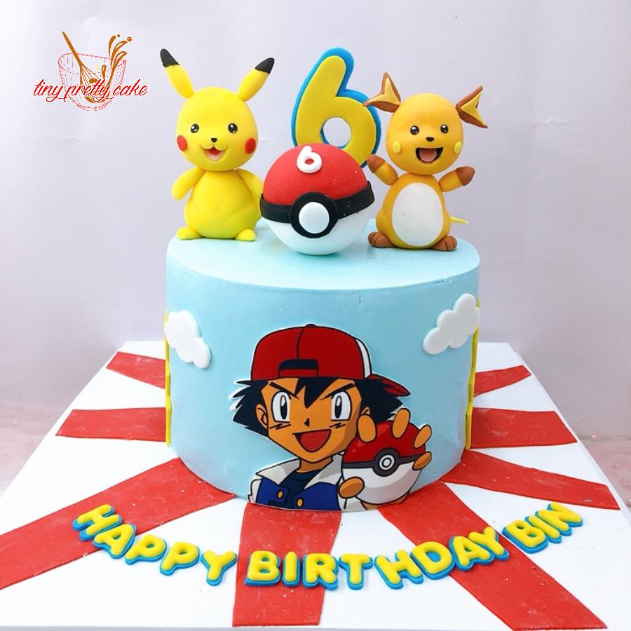 Bánh fondant chủ đề pikachu pokemon cho bé