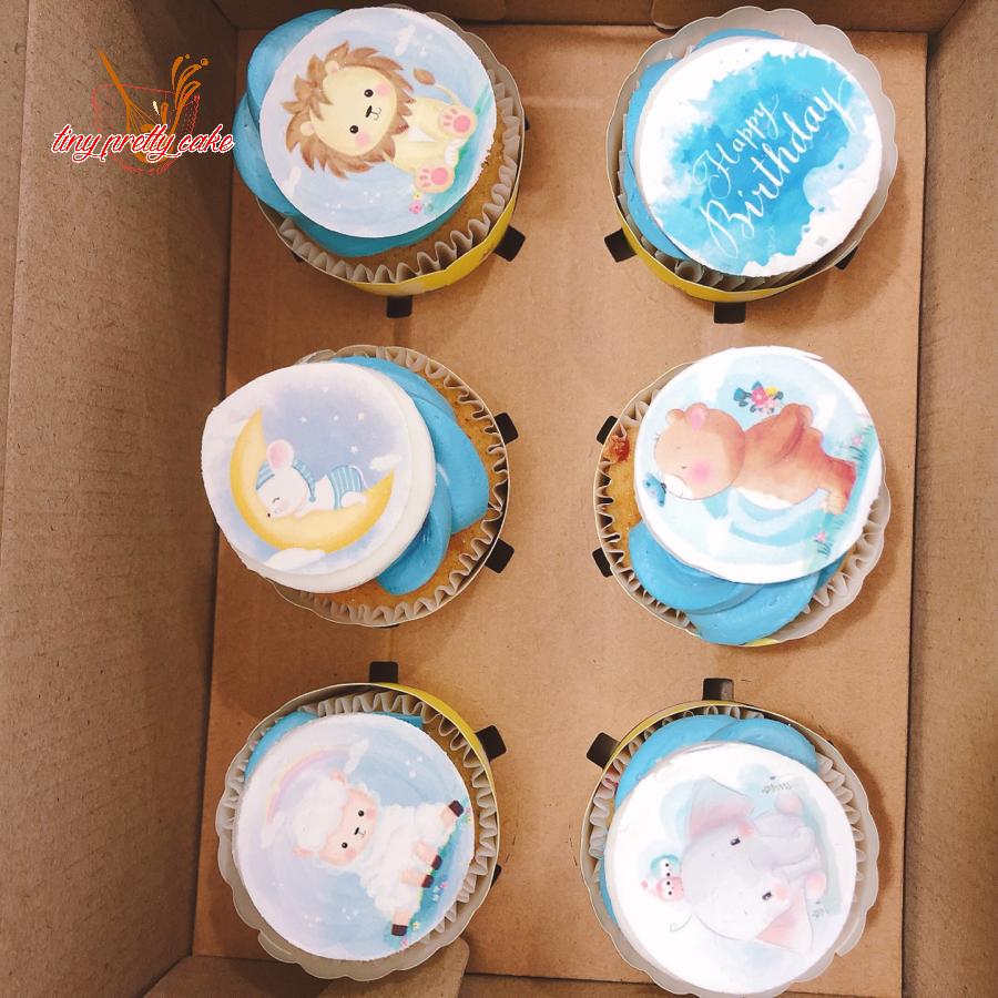 12 cupcake xanh