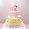 Bánh kem bơ 2 tầng tạo hình bé gái cho ngày sinh nhật